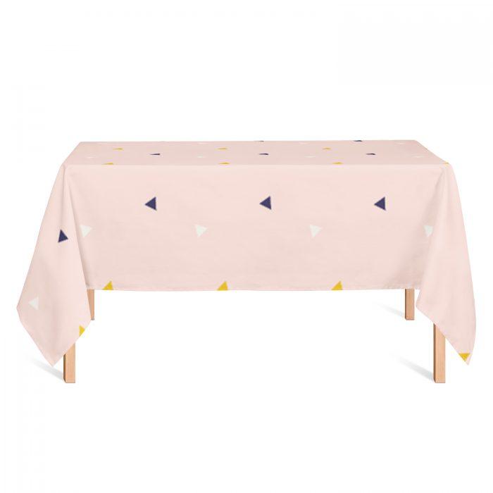 Tafelkleed roze driehoek Fin & Stip
