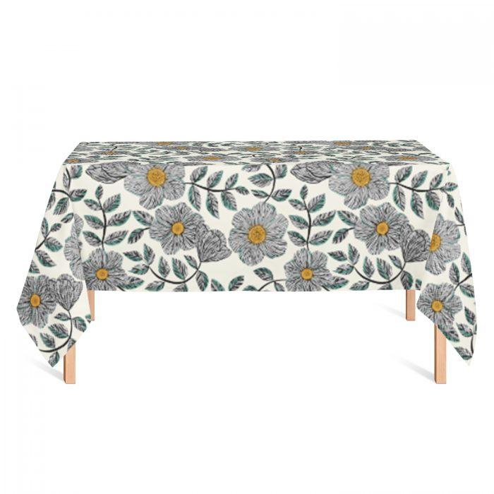 Tafelkleed fine-line bloemen Veronique de Jong
