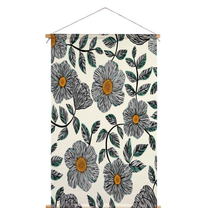 Textielposter fine-line bloemen Veronique de Jong