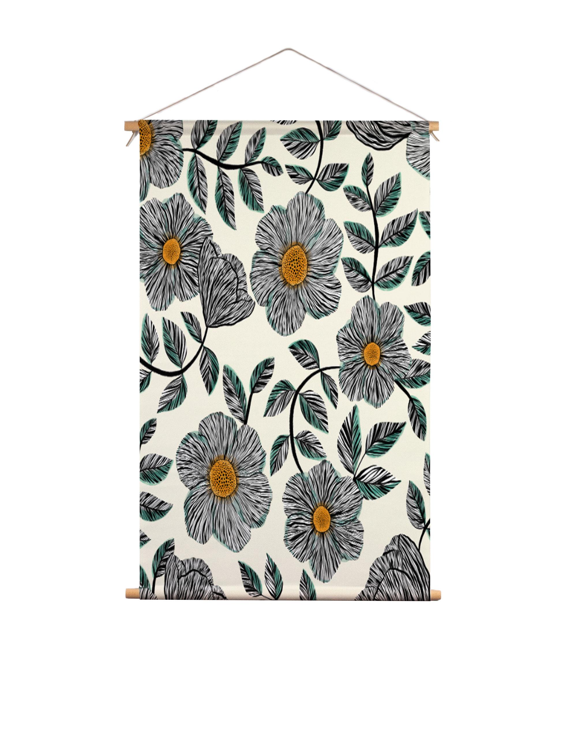Textielposter-fine-line-bloemen-Veronique-de-Jong