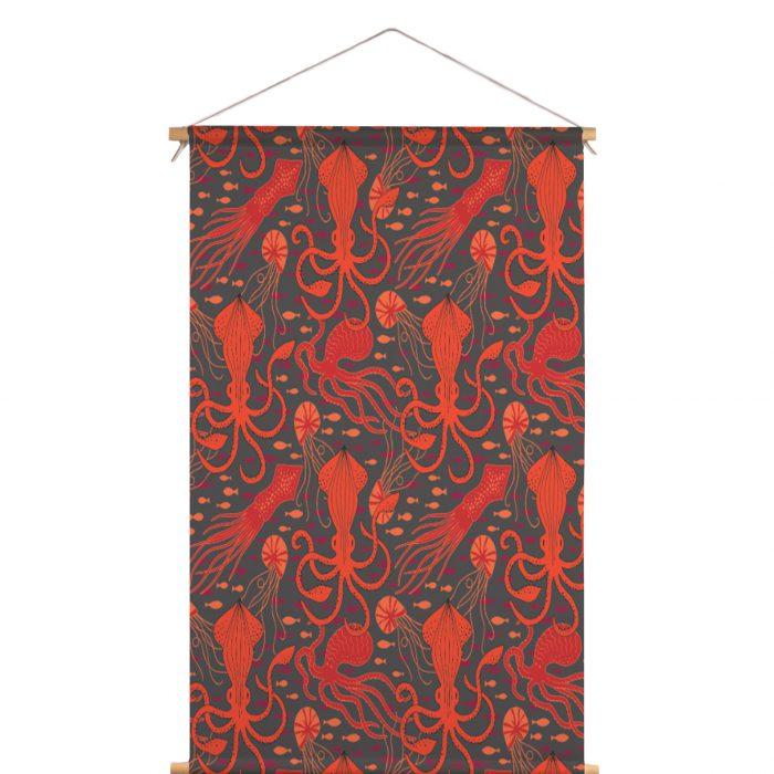 Textielposter inktvis HvdT Designs