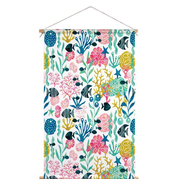 Textielposter koraal HvdT Designs