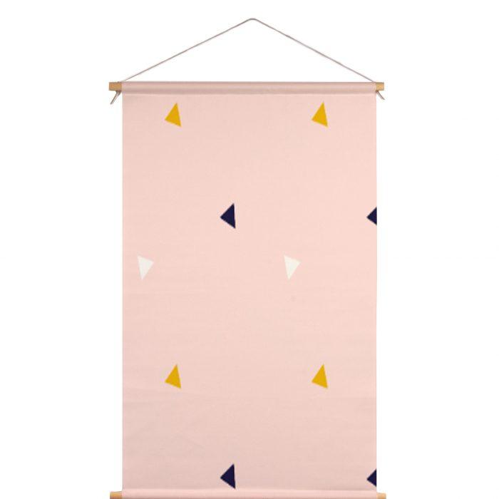Textielposter roze driehoek Fin & Stip