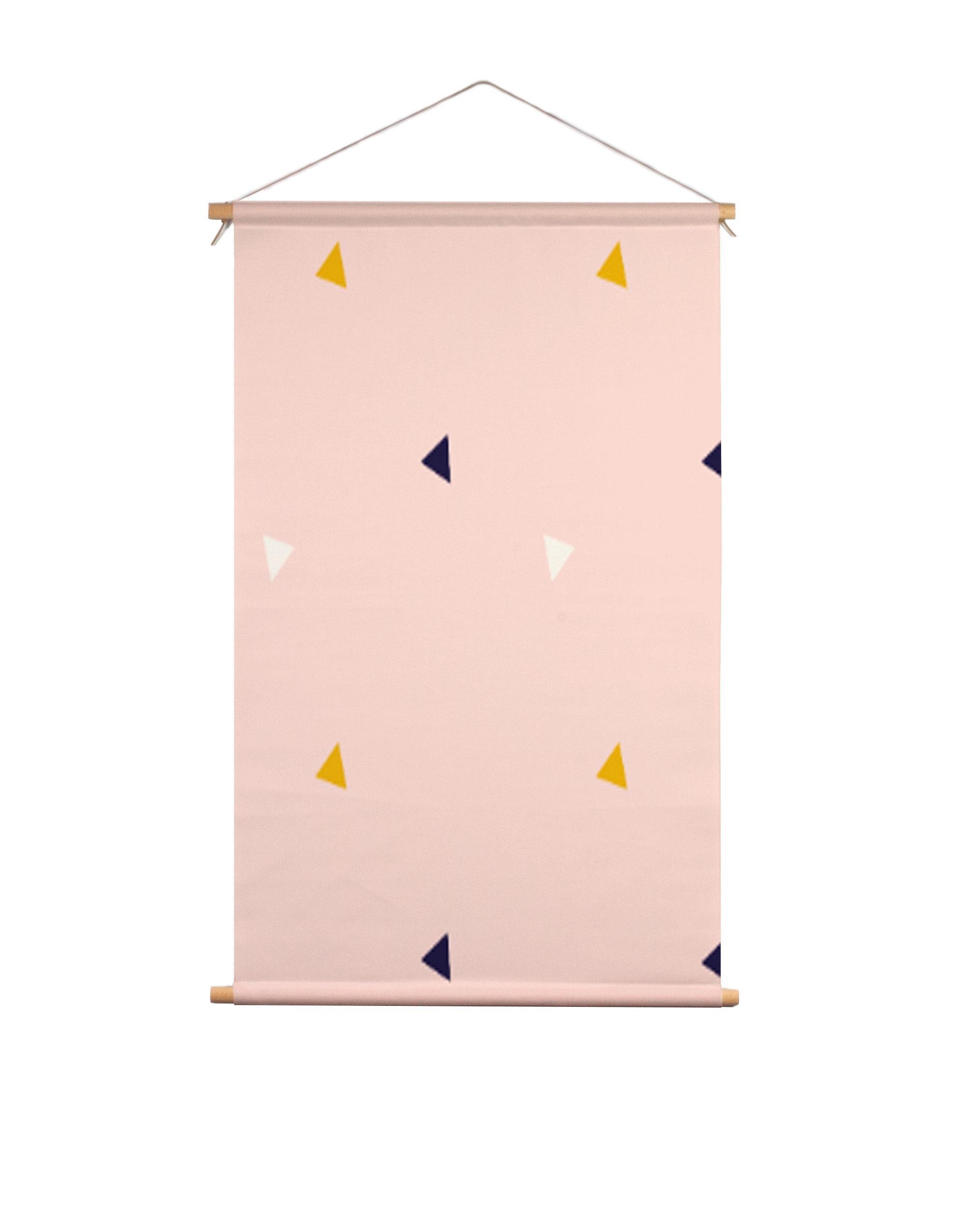 Textielposter-roze-driehoek-Fin-&-Stip