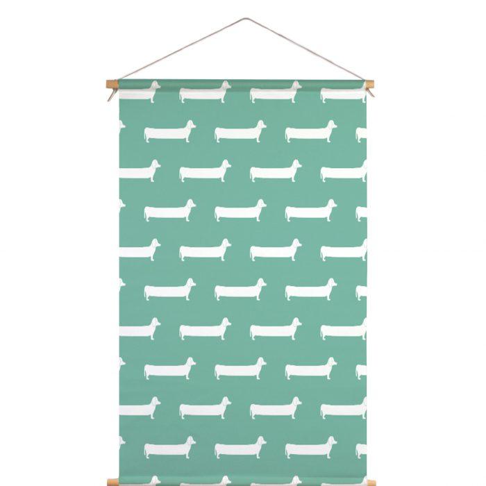Textielposter teckel groen Studio Maas