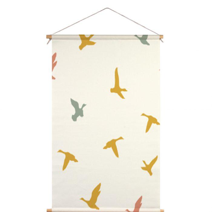 Textielposter vliegende vogels Fin & Stip