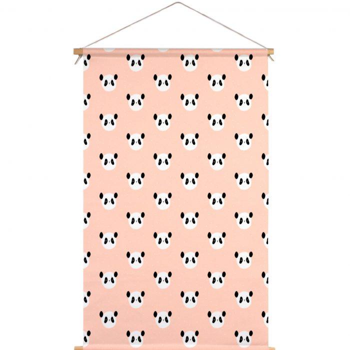 Textielposter roze panda Piet & Kees