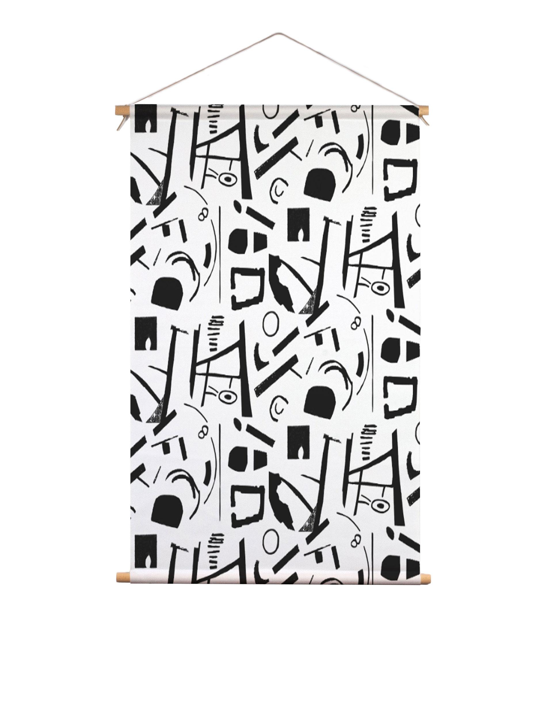 SylviaTakken_AbstractBlackAndWhite_textielposter