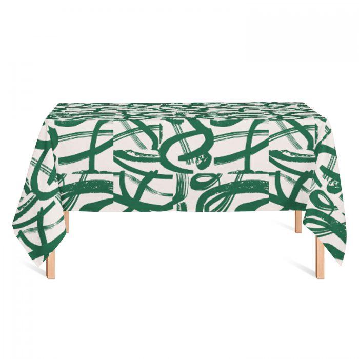 We Maqe tafelkleed groene strepen Sylvia Takken