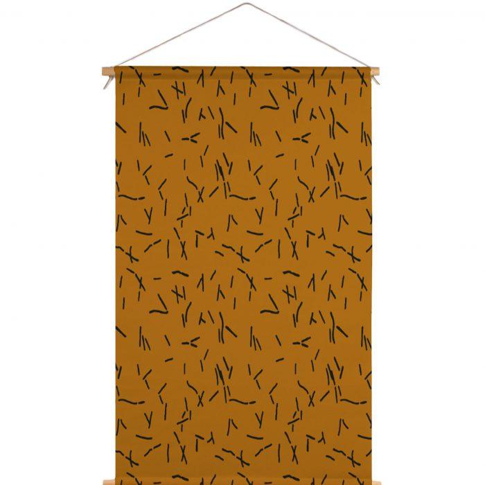 We Maqe textielposter abstracte streepjes bruin Sylvia Takken